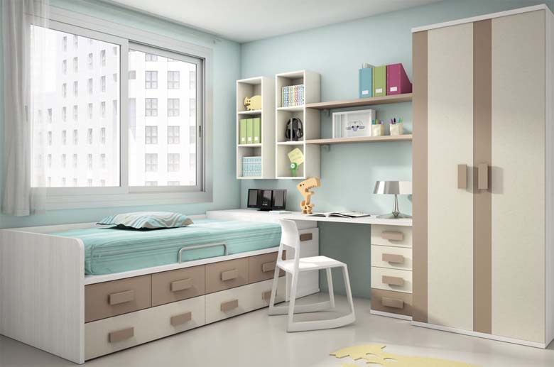 Muebles juveniles cama con escritorio for Escritorios dobles juveniles