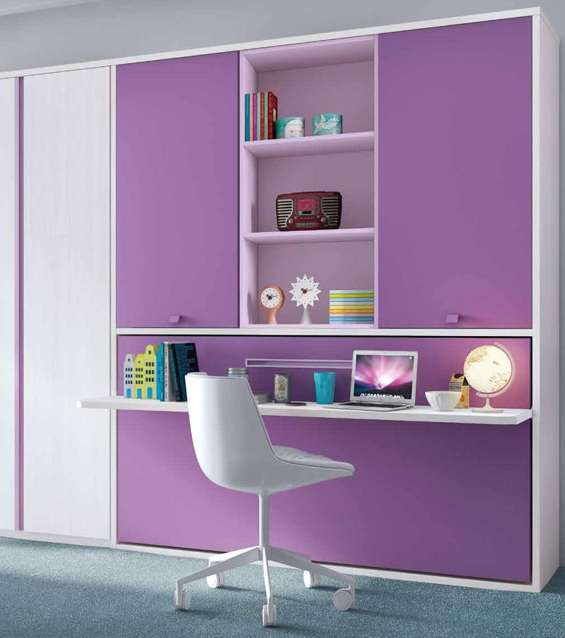 cama abatible horizontal armario y escritorio
